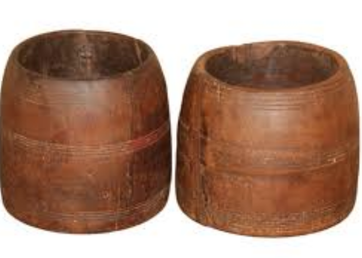 Timber Pot with Carved Lines - Various Sizes