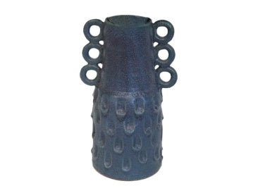 Blue Ceramic Imprint Vase with Loops