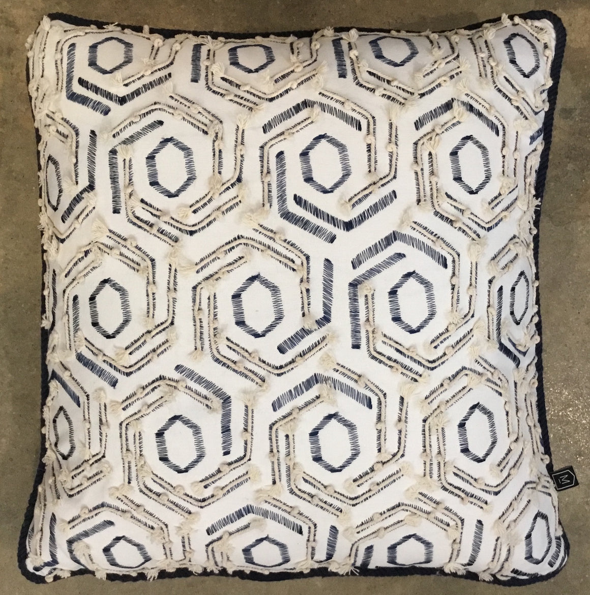 Textured Navy & White Cushion with Rope Detail and Piping
