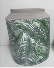 Leaf Patterned Cement Vase 220mm