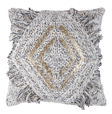 Grey Knitted Cushion with Gold Diamond Detail
