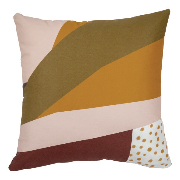 Abstract Stripes and Spots Print Cushion