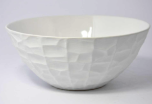 Matte White Ceramic Textured Bowl - Large