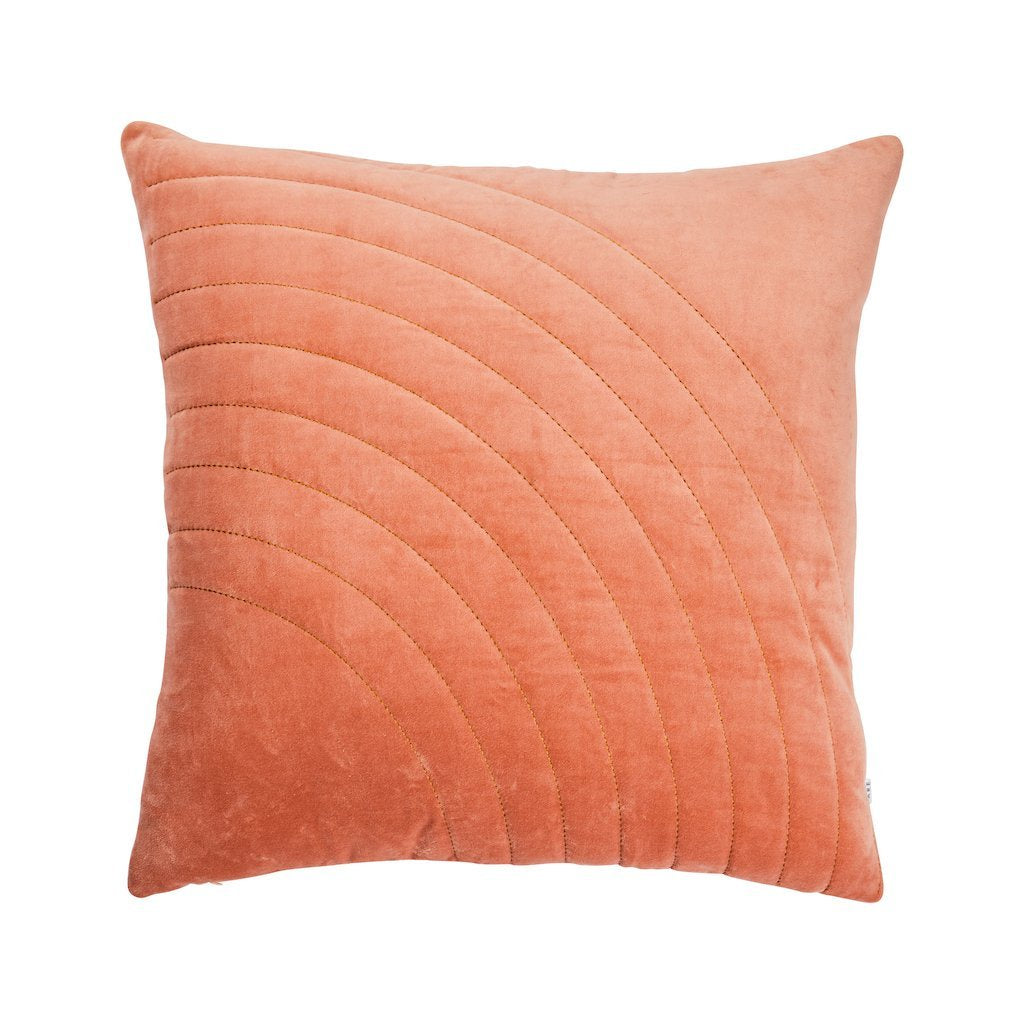 Terracotta Velvet Sham  Cushion with Stitching Detail