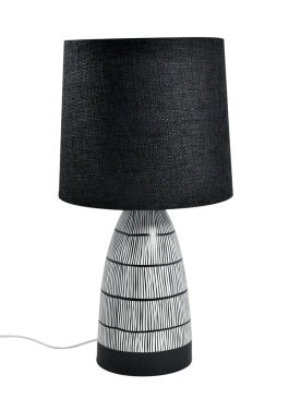Tribal Lines Lamp with Black Shade