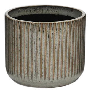 Ribbed Grey Ceramic Planter