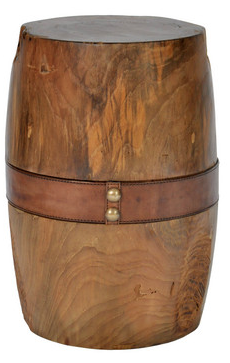 Round Timber Stool with Leather Strap - Small