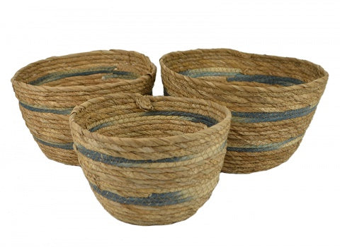 Seagrass Natural & Blue Short Basket