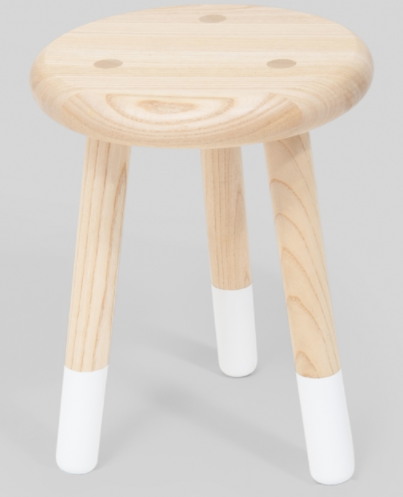 Wooden Timber Stool with White Socks