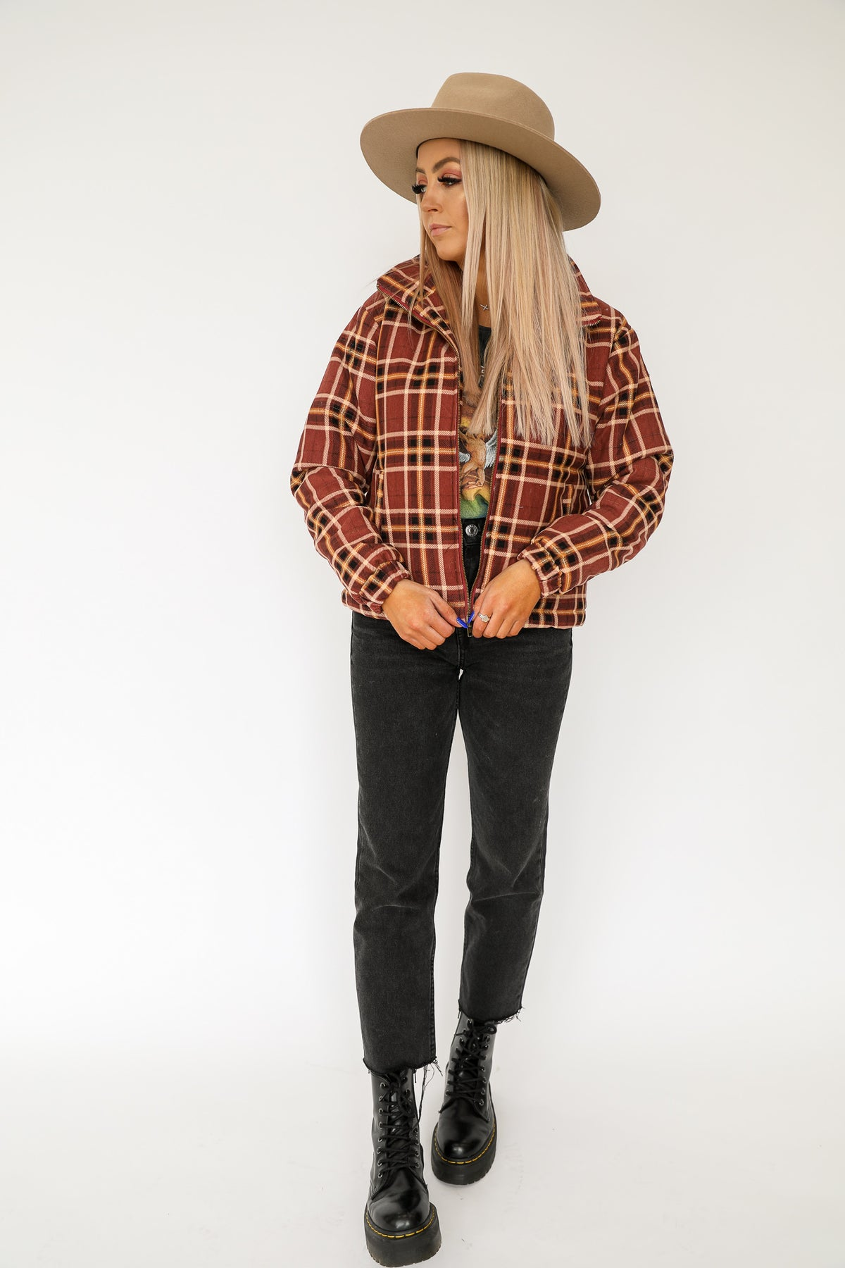 Checked Out Puffer Jacket