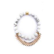 Howlite Bracelet with Fishbone Bracelet