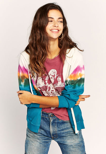 Tie Dye Zip Up Hoodie In Tropical Sunset