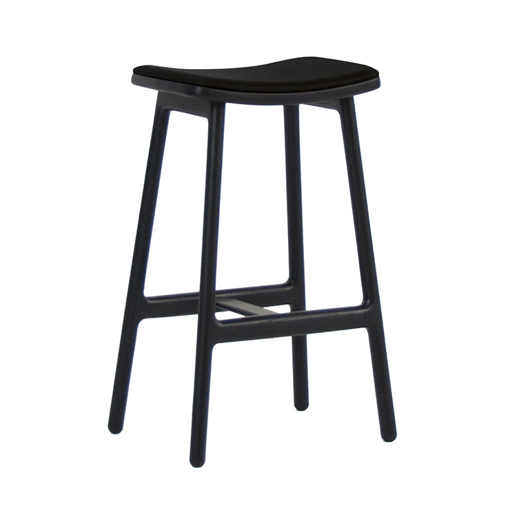 SKETCH ODD LEATHER BARSTOOL - BLACK/BLACK