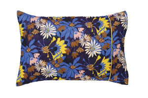 KIP & CO - FLORA BLUE SINGLE QUILTED PILLOWCASE