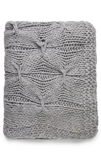 ALKA KNITTED THROW - GREY