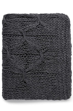 ALKA KNITTED THROW - CHARCOAL