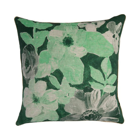 PAINTED FLORAL GREEN CUSHION