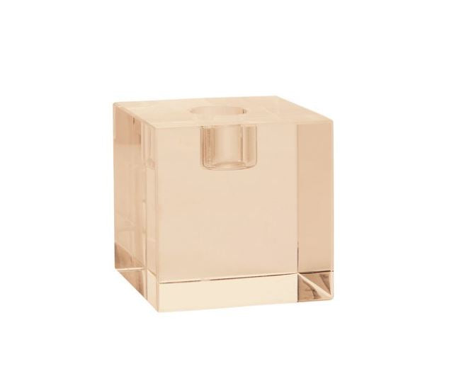 CUBE GLASS CANDLE HOLDER - AMBER