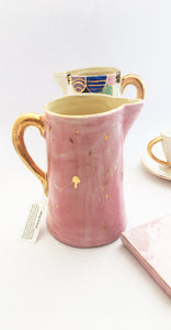HANDMADE CERAMIC PINK JUG WITH GOLD DETAIL