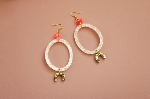 MURPHY MADE DAY TRIPPER EARRINGS -White Fleck, Fluro Pink & Gold