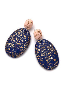 BLUSH & COBALT TERRAZZO DROP EARRINGS