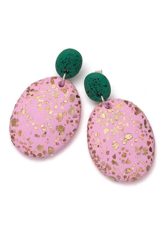 CLOVER SPECKLE & PINK TERRAZZO DROP EARRINGS