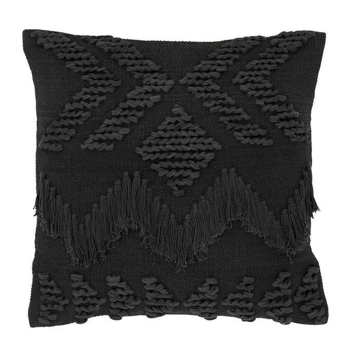 FRINGE CUSHION BLACK