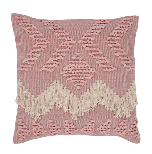 FRINGE CUSHION BLUSH & WHITE