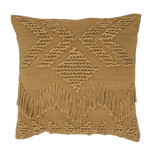 FRINGE CUSHION - TAN