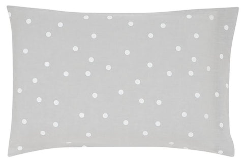 CASTLE - GREY LINEN WHITE SPOT PILLOWCASE
