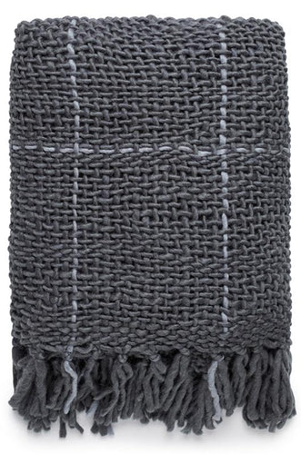 NARVI KNITTED THROW - CHARCOAL/GREY