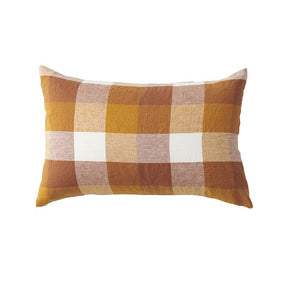 CHECK LINEN PILLOWCASE SET- BISCUIT