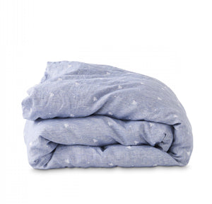 EMBROIDERED CHAMBRAY KING DUVET COVER