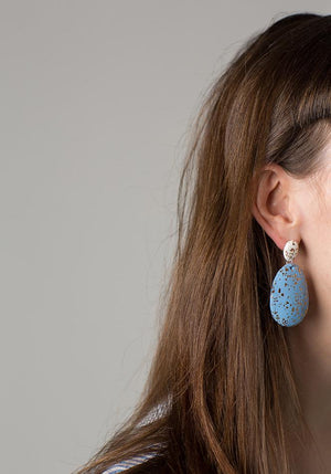 WHITE & ICELANDIC BLUE TERRAZZO DROP EARRINGS