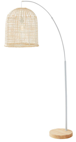 NATURAL RATTAN WEAVE FLOOR LAMP