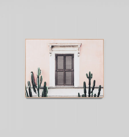 BLUSH VILLA - FRAMED CANVAS PRINT