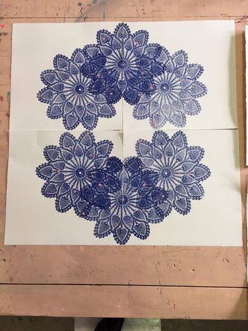 PRUSSIAN BLUE FLORAL STAR MANDALA