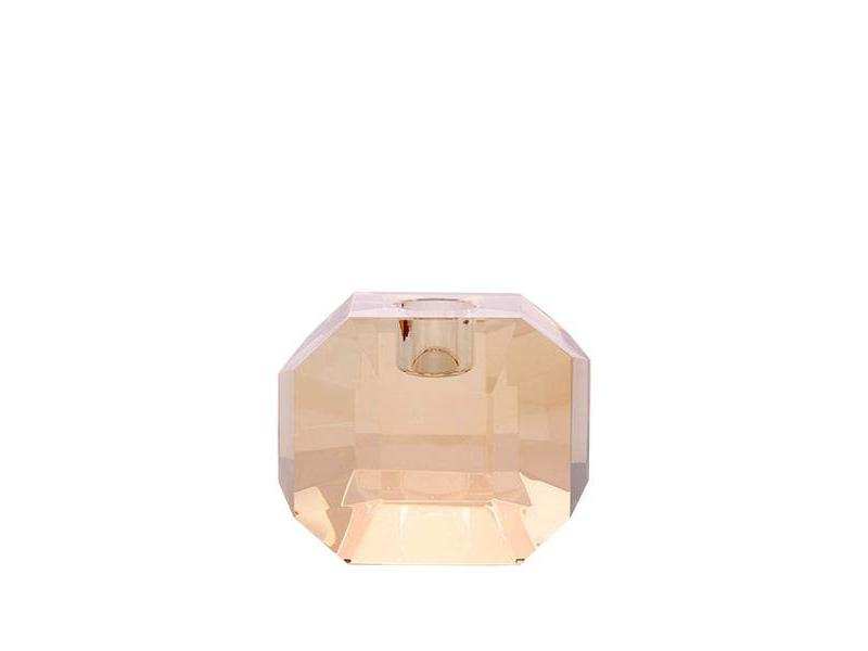 CRYSTAL GLASS CANDLE HOLDER - AMBER
