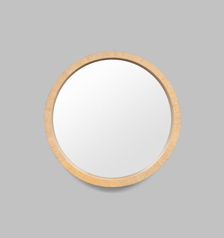 LIGHT WOOD ROUND MIRROR