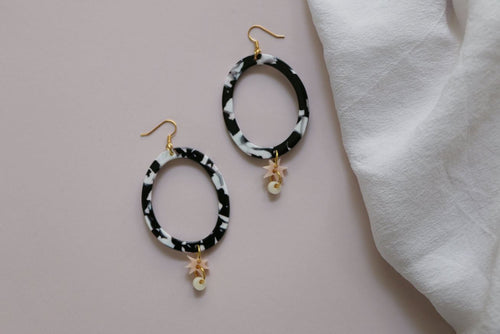 MURPHY MADE NEBULA EARRINGS - Monochrome, Pink & White