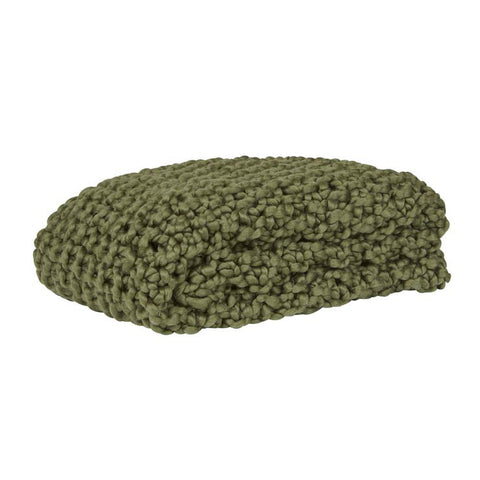 IGGY KNITTED THROW - OLIVE GREEN