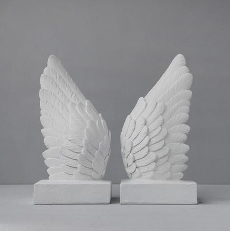 WHITE MOOSE WINGS BOOKENDS -WHITE