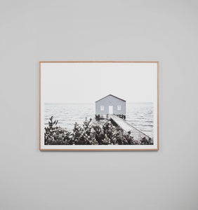 WINTER BOATHOUSE FRAMED ARTWORK