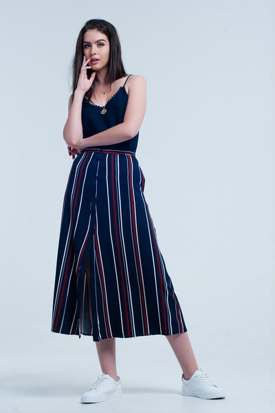 Buy Women's Navy Blue Striped Midi Skirt