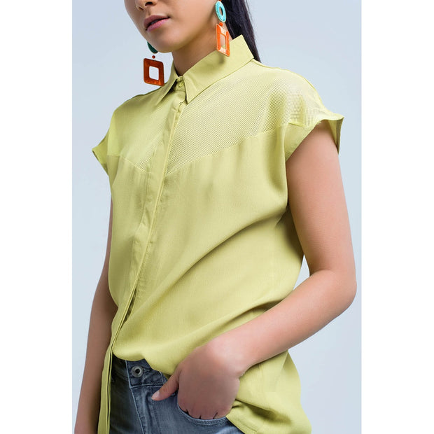 Yellow shirt with mesh detail