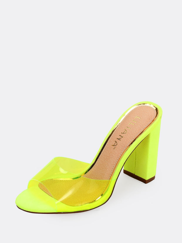Peep Toe Clear Band Block Heels