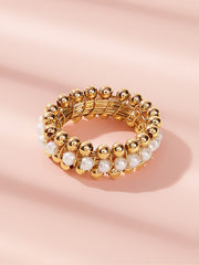 Faux Pearl & Bead Decor Ring 1pc