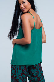 Green cami top with satin straps