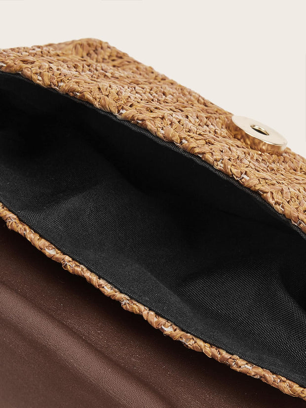Straw Detail Flap Fanny Pack