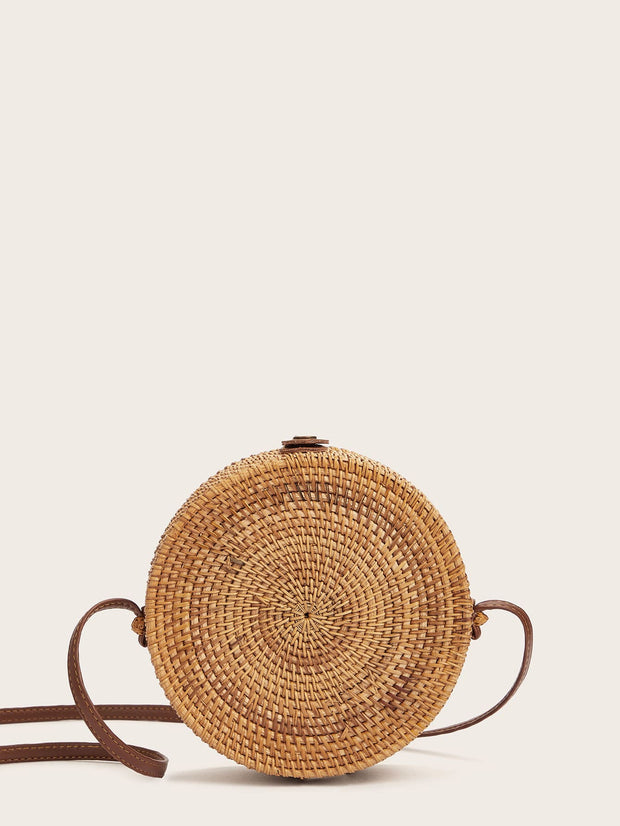 Round Shaped Woven Crossbody Bag